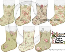 Digital Clip Art - Vintage Christmas Stockings Collage Sheet Clip Art - Instant Download - Downloadable - CU / Commercial / Personal Use ok
