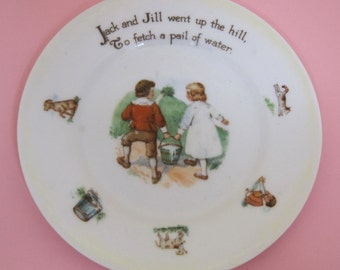 Antique Bavaria Schumann Children's Jack and Jill Plate w Dogs & Cats 6 Inches T4