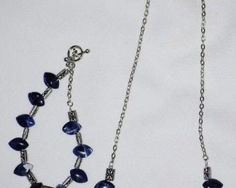 Blue Leaf Necklace and Bracelet