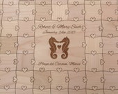 100-150 pcs Beach Wedding Destination Wedding Guest Book Puzzle (Custom Puzzle with Heart Tabs)