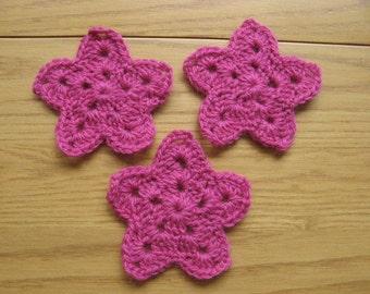 Fuschia Crochet Stars - Wool - Set of 3 - 3 Inches in Diameter