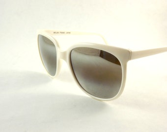 White Sunglasses, Black Sunglasses, Reflective Mirror Sunglasses, Unisex Vintage 1980's Sunglasses Frames