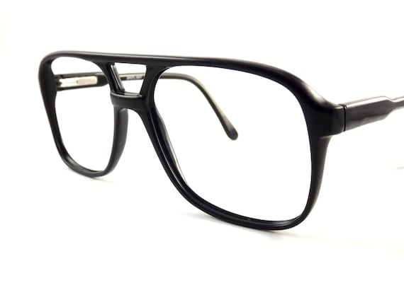 mens small eyeglasses black aviator glasses frames spring hinge temple arms new old