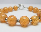 Glow in the Dark Bracelet, Amber Glass Bracelet, Honey Bead Bracelet, Honey Amber Beaded Toggle Bracelet, Beekeeper Jewelry Gift, Honeycomb