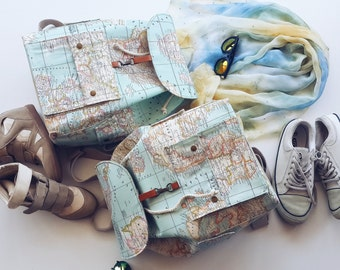 Two World Map Prints Backpack For Couples /Two Atlas Large Backpack/Travel,School,Daily Backpack/Unisex  Rucksack /Map/