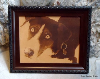 Leather Engraved Pet Photo, Custom Leather Engraved Pet Portrait, Personalized Leather Engraved Photo, Laser Engraved Photo on Leather