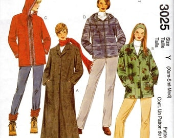 """Women's Unlined Coat or Jacket Pattern - Size X-Small (4-6), Small (8-10), Medium (12-14), Bust 29 1/2"""" to 36"""" - McCall's 3025 uncut"""