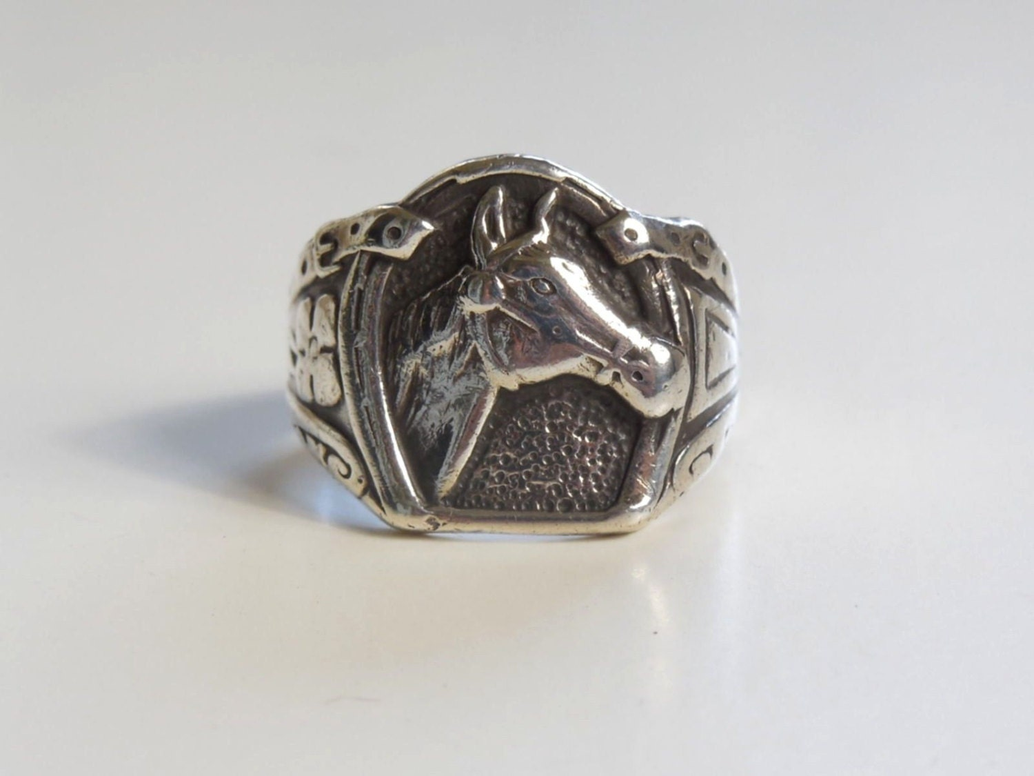 vtg sterling silver western ring motif size 9 75 rodeo
