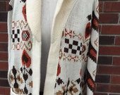 Vintage Women's Cardigan Sweater Hearts Folk Country Acrylic Cotton Large