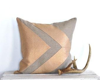 Metallic Arrow Colorblock Pillow Cover - Copper/ Natural