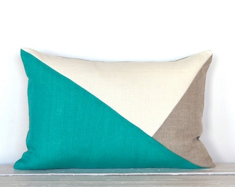 Side Envelope Modern Colorblock Pillow Cover - Sea Turq / Natural Combo