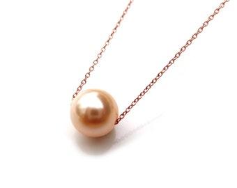 "Rose Gold Peach Pearl Necklace, Single Peach Pearl Necklace, Bridesmaid Jewelry, Pink Peach Pearl Choker, 14"", 16"", 18"""