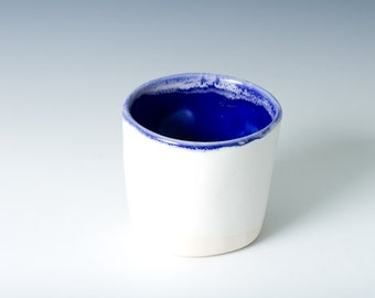25% off Small Cobalt / Indigo Blue and White Matte Cup / Tumbler, Handmade Simple, Modern - pottery cup - ready to ship gift