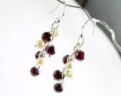Garnet Earrings, Sterling Silver, fine earrings with red wine gemstone, white freshwater pearls, elegant, sophisticated, gift for her,ER2799