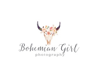 Photography logo and watermark, premade logo design, bohemian logo, vintage tribal skull logo custom design 088