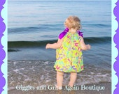 Summertime Flip Flopping Fun Dress for Girls - Choose your Fabric and Ribbon - 12 months to 6 yrs - Includes Hair Bow