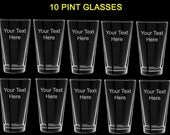 10 pint glasses wedding favors gift customized personalized