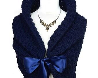 Navy Blue Wedding Shawl, Crochet Shoulders Wrap, Spring Wedding Cover Up, Crochet Shawl, Navy Capelet Wrap Shawl, Wedding Cape Bolero Jacket