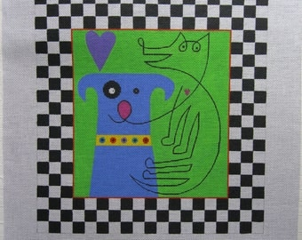 """De Elda, Two Dogs; Black and White Checks, hand painted needlepoint canvas, 14.25"""" X 15"""" image, #917, artist signed, bold, abstract, canine"""