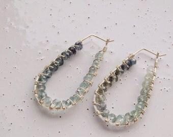 Sterling Silver & Moss Aquamarine Wrapped Hoop Earrings