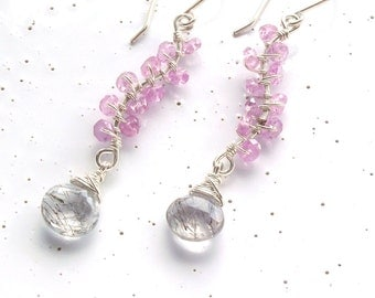 Sterling Silver, Pink Sapphire & Black Rutilated Quartz Leaves on a Branch Earrings