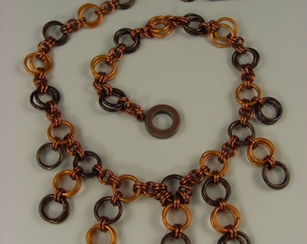 Circles of Autumn chainmaille necklace