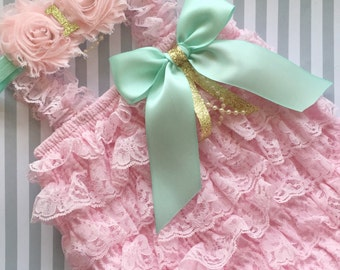 Baby Girls Lace romper, pink lace romper set, Pink and gold 1st birthday baby outfit-mint and gold 1st birthday outfit-cake smash outfit