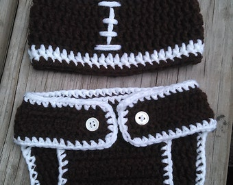 Football hat & diaper cover