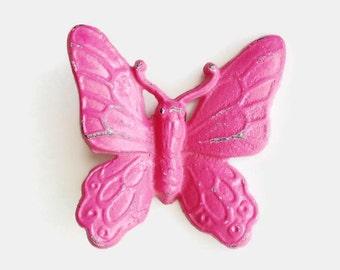 Pink Nursery Decor. Butterfly Garden Decor. Hot Pink Girls Room. Dorm Decor. Cast Iron Metal. Fairy Garden. Butterfly Wall Art. Gift for Her