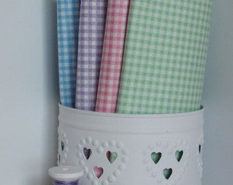 Gingham patchwork quilting fabric / Blue Lilac/Purple Pink Green Red / Makower / fat quarter