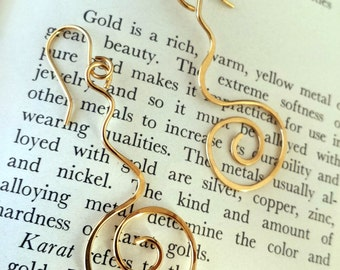 14 K Gold Abstract Hammered Earrings Tribal Minimalist Metalsmith Earrings Vermont Artisan