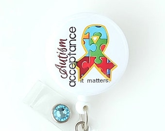 Autism Awareness Badge Reel - Ribbon ID Holder - Teacher Name Badge Clips - Unique Badge Pull - Nurse Gifts - Teacher Lanyard - BadgeBlooms