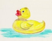 Rubber Ducky Matted Fine Art Print from Original Watercolor Painting - Bathroom Picture Bathtub Toy Yellow Plastic Duck