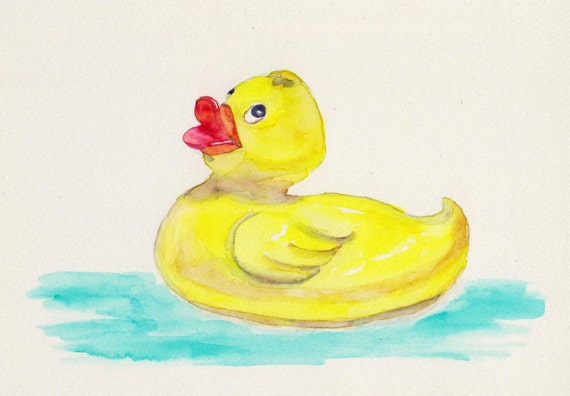 Rubber Ducky Matted Fine Art Print From Original Watercolor