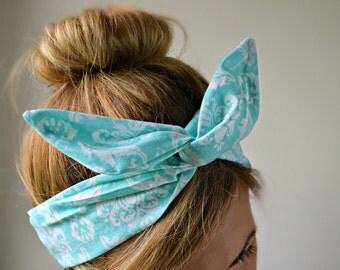 Aqua Damascus Dolly bow head bands, hair bow head band