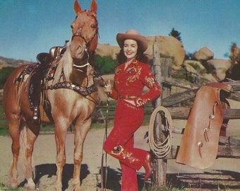 Bling It Red and Gold - Vintage 1950s Glam Babe and Western Palomino Horse Postcard