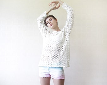 Vintage white crochet lace see through long sleeve sweater