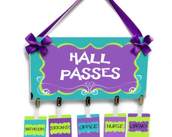 classroom hall passes teachers school bathroom passes, purple lime green and blue - HP36