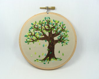 Hand Embroidered Falling Leaves Wall Hanging - 4 inch hoop, nature, great gift, decoration, tree, home decor, custom work available