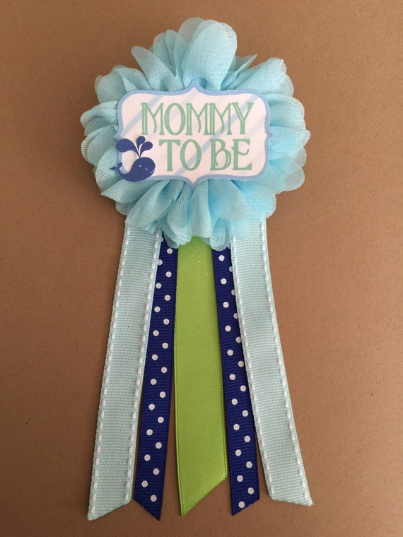 blue whale baby shower mommy to be flower ribbon pin corsage glitter