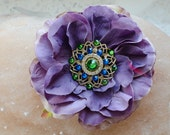 Hair flower pin, with Swarovski crystals.Tribal Fusion belly dance, light violet