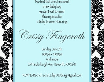 Ribbons and Bows Baby Shower Invitation