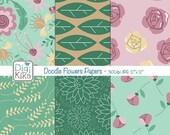 SALE Doodle Flowers II Digital Papers - Floral Paper Pack - Scrapbook, card design, invitations, paper crafts - Instant Download