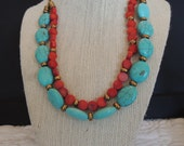Turquoise Coral Brass Chain Double Matching Earrings Set Blue Red Green Under 50