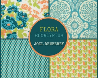 Joel Dewberry Fabric - 4 Fat Quarter Bundle (1) FLORA in Eucalyptus