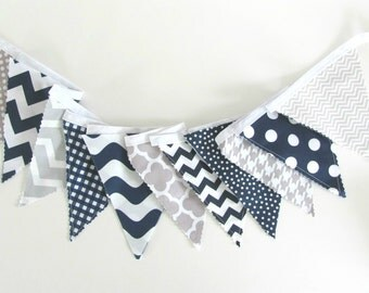 Bunting Banner Baby Nursery Decor Navy Blue Grey Fabric Flags Photo Prop Chevron