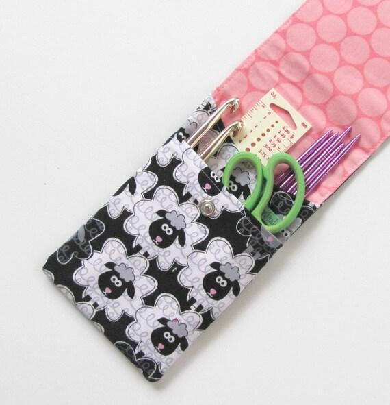 Knitting Needle Case Nz : Knitting needle case sheep dpn or crochet hooks by