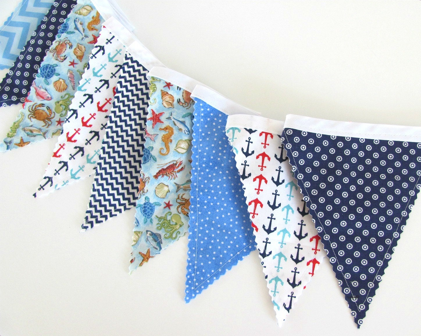 Nautical nursery baby boy bunting banner anchors by for Nautical nursery fabric