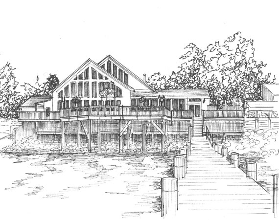 Custom Home Portrait - Personalized Ink Sketch of Your House or Cottage - Architectural Rendering