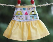 Handmade Girl Doll Clothes Sleeveless Doll Dress made with Riley Blake home house retro fabric - Fit My 12 inch Fashion Dolls